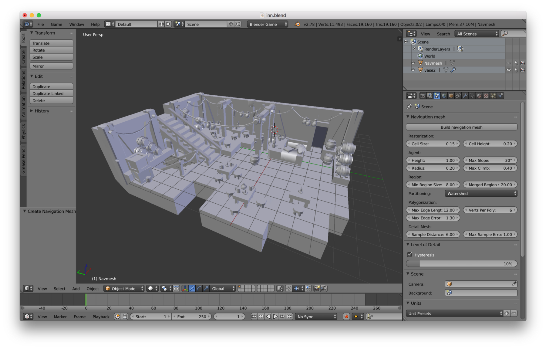 Screenshot of our bare scene inside of the Blender user interface.