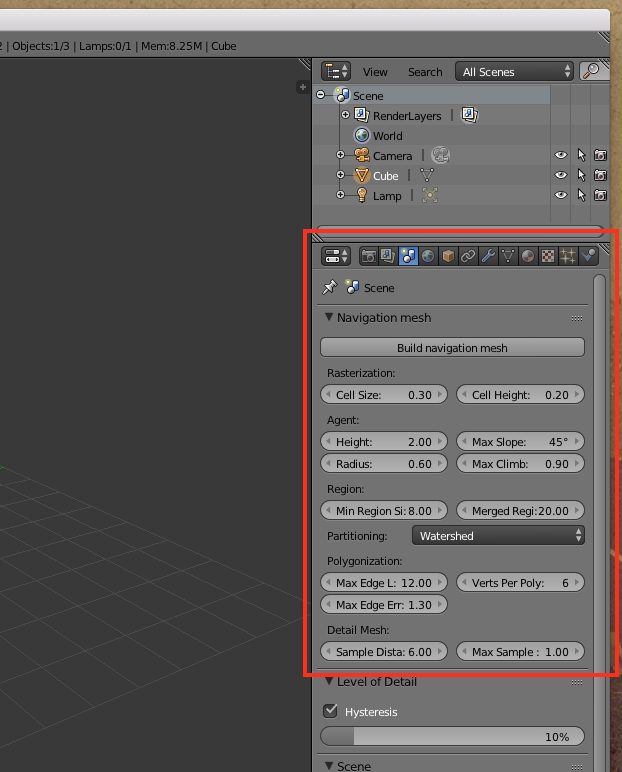 Screenshot of the scene panel in Blender's user interface.
