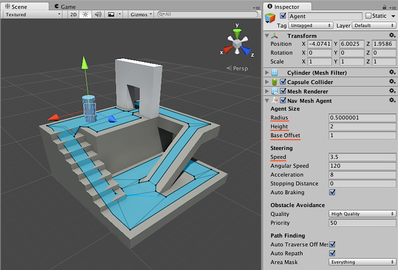 Screenshot of a navigation mesh inside of the Unity user interface.