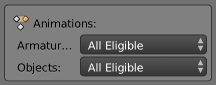 "Select ""*All Eligible"" for animation Armatures and Objects.*"