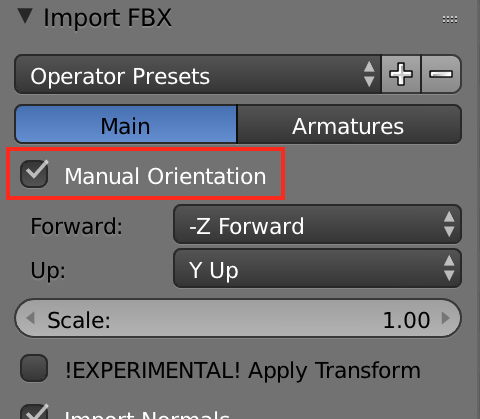 "When importing the FBX, select ""Manual Orientation"" under the ""Main"" tab."