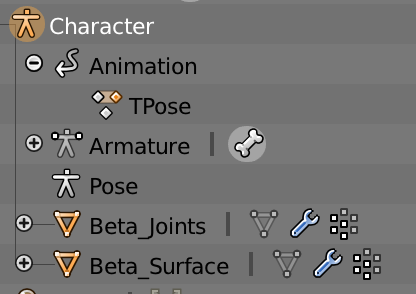 "The base character should have name like ""Character"", and the animation should be called ""TPose""."